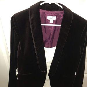 The Loft burgundy velvet jacket